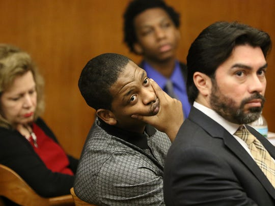 Nyje Johnson sits near his attorney, Jose Torres while in the background, attorney, Dianne D'Alessandro sits near Jeavonte Dennis. Opening statements were made at Bergen County State Superior Court in Hackensack in the State vs. Johnson and State vs. Dennis in the 2014 shooting that took the life of 15 year-old Nazerah Bugg. Wednesday, May 31, 2017