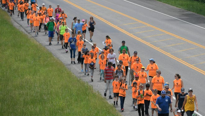Moore Elementary fourth grade students, teachers and parents walk during the 25th Anniversary Walk to Wellness on the historic Natchez Trace in Leiper's Fork on Thursday, May 11, 2017.  This two-day walk covering 28 miles.
