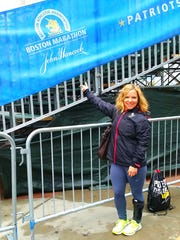Wendy Garrett of Turner at the 2015 Boston Marathon,