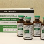Bottles of midazolam can be found at a hospital pharmacy in Oklahoma City.