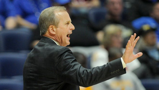 Tennessee head coach Rick Barnes yells to his team in their game against Georgia in the 2017 SEC Men's Basketball Tournament at Bridgestone Arena Thursday, March 9, 2017 in Nashville, Tenn.