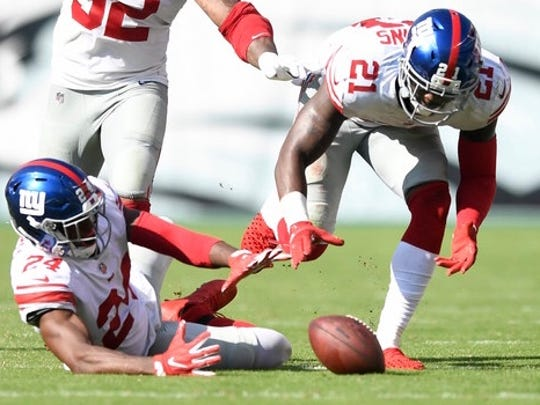"""Giants teammates Eli Apple (24) and Landon Collins (21) have been at the center of a feud for weeks now. Collins referred to Apple as a """"cancer"""" during a radio interview Tuesday."""