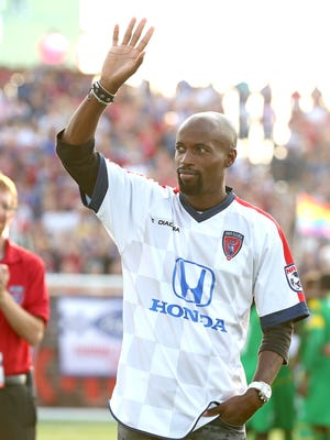 FILE -- US national team player DaMarcus Beasley waves to the crowd before the start of the Indy Eleven game July 19, 2014 at Carroll Stadium.