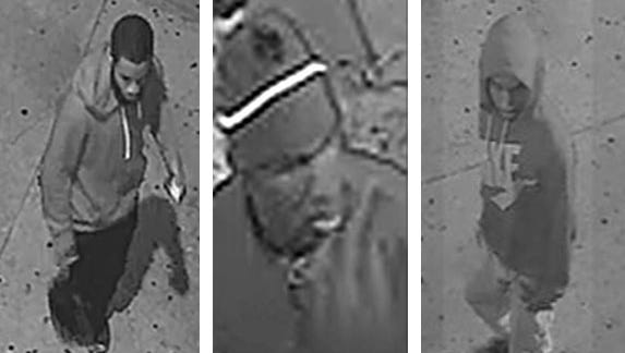 Camden County Police believe these three men, shown here in a composite image, captured on surveillance video were involved in a robbery and fatal shooting Thursday.
