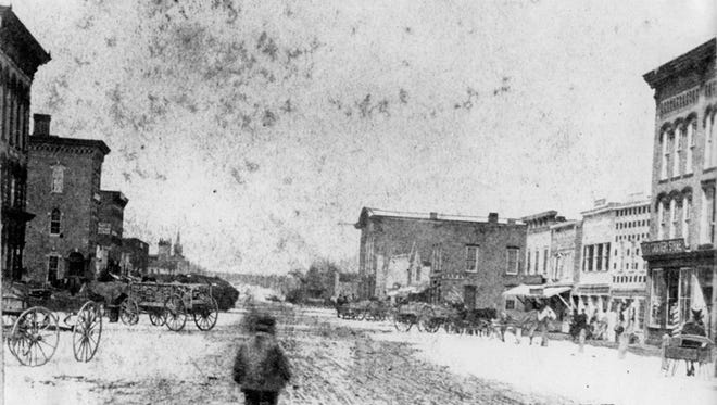 The 100 block of south Washington Avenue, circa 1860
