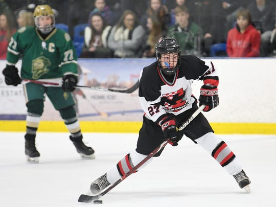 Northern Highlands vs. St. Joe's in the Big North Cup Finals at the Ice Vault in Wayne on Friday, February 16, 2018. NH #27 Jack Sparago takes a shot in the first period.