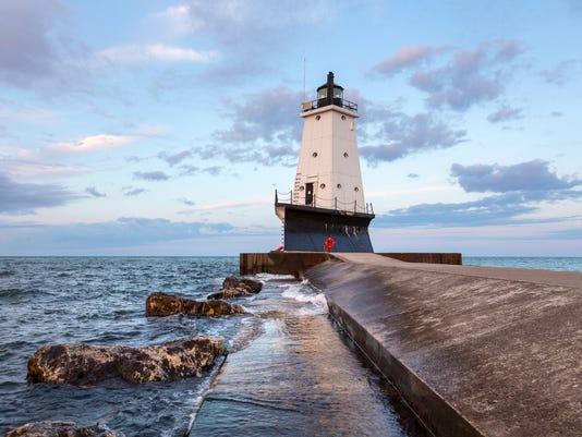 Ludington Pier Lighthouse in Ludington Michigan