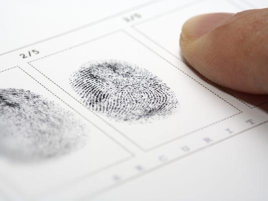 Close up of stamping fingerprints