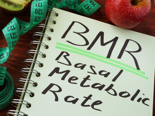 BMR Basal metabolic rate written on a notepad sheet.