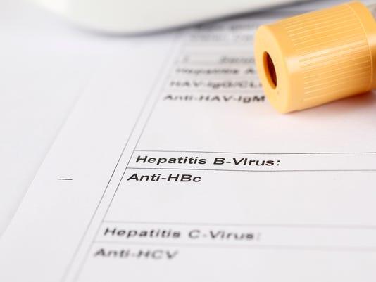 Laboratory test, Hepatitis C, blood tubes on paper