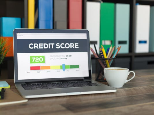 Credit Score on Laptop Screen