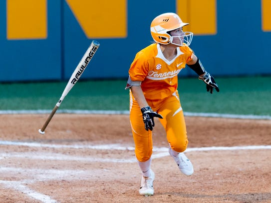 Tennessee's Jenna Holcomb (2) eyes her hit during an