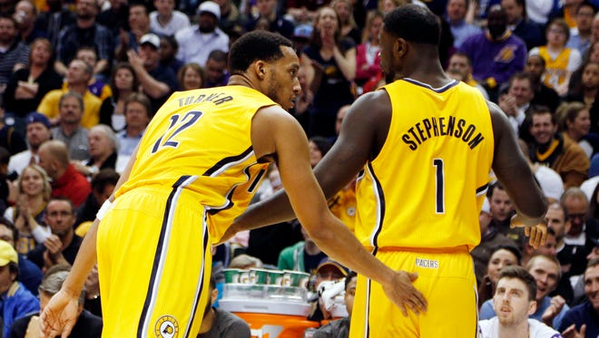 Pacers guards Evan Turner, left, and Lance Stephenson went at it in a practice before the playoffs.