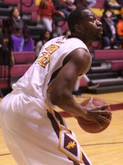 Midwestern State's Igor Ibaka looks to the basket in