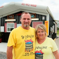 After oilfield leaves them lost, couple tries hand at sno-balls & seafood
