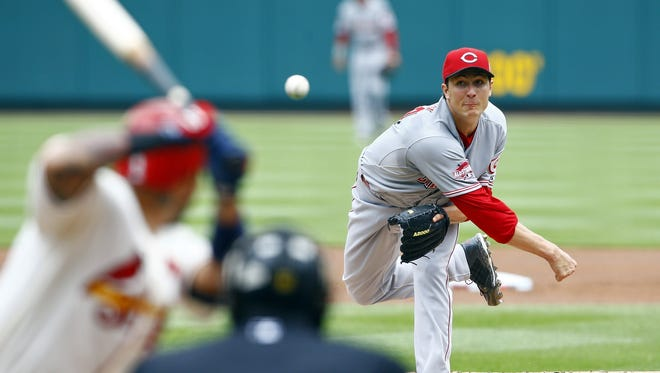 Homer Bailey gave up five runs in his first outing of the 2015 season, Saturday against the Cardinals.