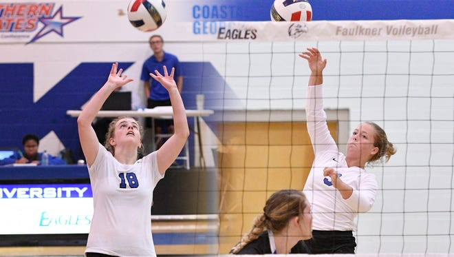 Faulkner volleyball players Katie Musser and Julianne Wilkes.