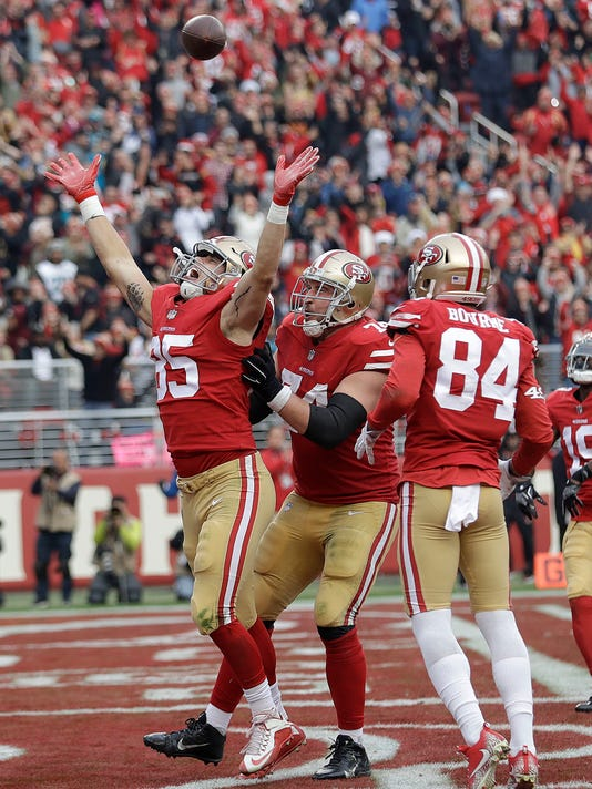 San Francisco 49ers tight end George Kittle (85) celebrates after scoring a touchdown against the Jacksonville Jaguars during the second half of an NFL football game in Santa Clara, Calif., Sunday, Dec. 24, 2017. (AP Photo/Marcio Jose Sanchez)