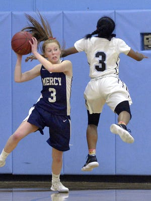 Mercy's Alex Hetterich, left, shields the ball from Bishop Kearney's Kaia Goode during a regular season game at Bishop Kearney High School on Tuesday, Jan. 30, 2018. Mercy beat Bishop Kearney 73-66.