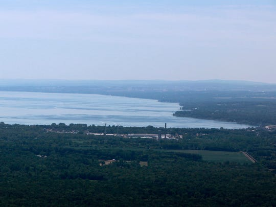 The north end of Seneca Lake photographed from an airplane.