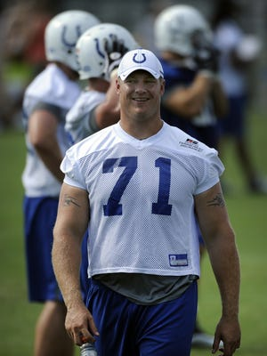 Former Colts player Ryan Diem, shown at a 2011 practice, spoke to high school football players and coaches Thursday about playing safely.