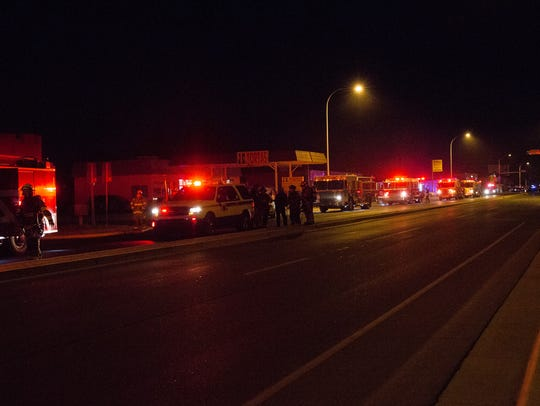 Las Cruces Fire Department blocked the west bound lanes
