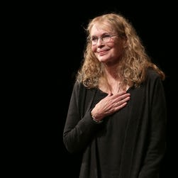 "Mia Farrow takes her opening night curtain call for the play ""Love Letters"" on Sept. 18 in New York."