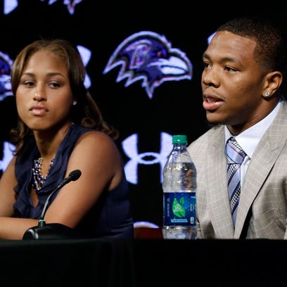 Baltimore Ravens running back Ray Rice, right, speaks