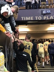 7-2 Purdue center Isaac Haas and the Boilermakers complete their postgame lap of  sold-out Mackey Arena on Wednesday night after beating Maryland 75-67, thanking fans before heading into the tunnel toward the locker room.