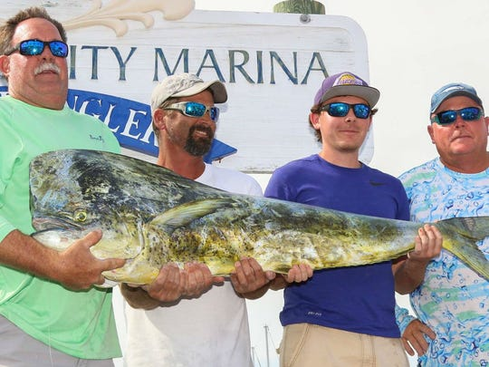 The team aboard My 3 Sons led by Gary Hedrick (left), of Port St. Lucie, weighed in the 2017 Fishing Frenzy-winning 57.80-pound dolphin to earn $10,000.