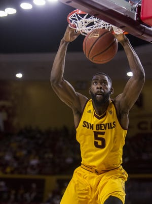 Arizona State's Obinna Oleka dunks the ball against USC in the first half on Friday, Feb. 12, 2016 at Wells Fargo Arena in Tempe, Ariz.