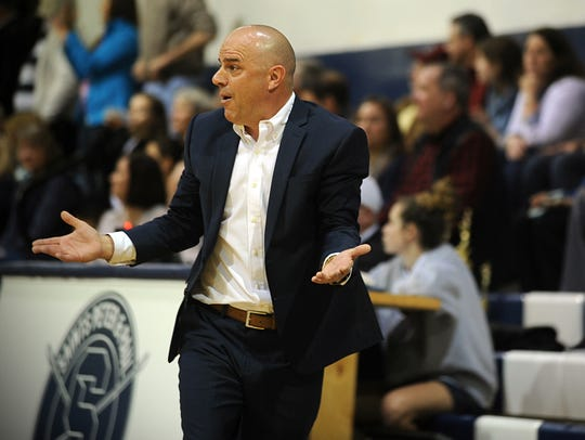 Worcester Prep coach Scot Dailey reacts to a call on