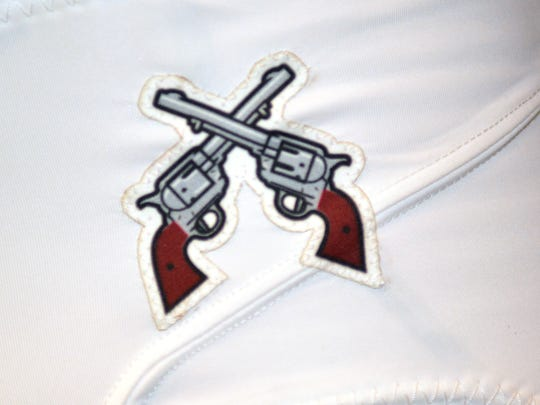The new UA Aggie football uniforms will have the pistol logo high on the front left of the pants.