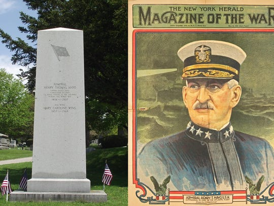 Admiral Henry T. Mayo of Burlington and his monument at Lakeview Cemetery in Burlington.