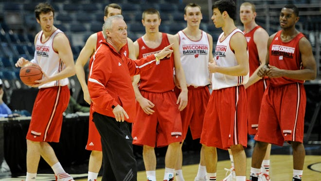 Wisconsin head coach Bo Ryan instructs his team during practice before the second round of the 2014 NCAA Tournament at BMO Harris Bradley Center in Milwaukee. The second-seeded Badgers play No. 15 seed American on Thursday.