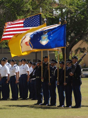 NMSU ROTC cadets participate in the annual Pass-in-Review ceremony on the Horseshoe Parade Grounds.