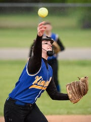 Kimball's Mackenzie Leither makes the throw from third to first base against Howard Lake-Waverly-Winsted in the third inning Monday at Kimball High School.