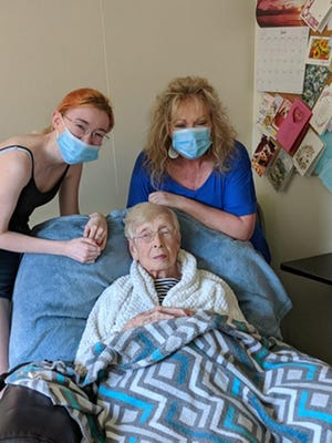 Nadine Musseman, SunPorch of Dodge City elder, is finally able to share some time with her daughter, Dee Dee Knapp, and granddaughter, Jaden Knapp.
