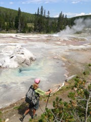 The Continental Divide Trail, which Reed Gjonnes hiked in 2013, winds surprisingly close to geysers in the Yellowstone National Park backcountry.