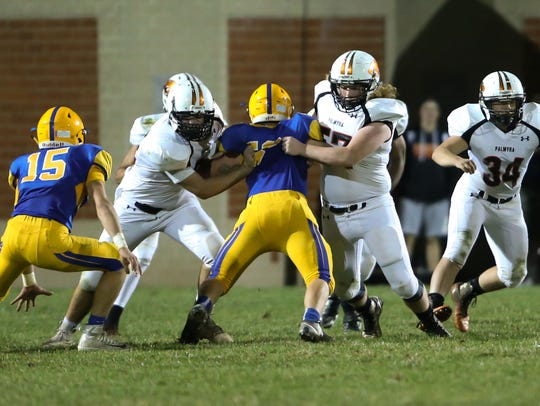 Palmyra's offensive line blocks during the Cougars'
