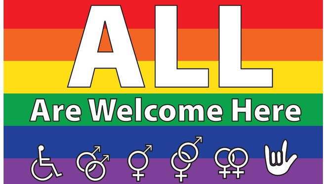 """Dallastown Area School District has decided to remove rainbow """"All Are Welcome Here"""" signs, which have been hanging in the middle school and high school for years."""
