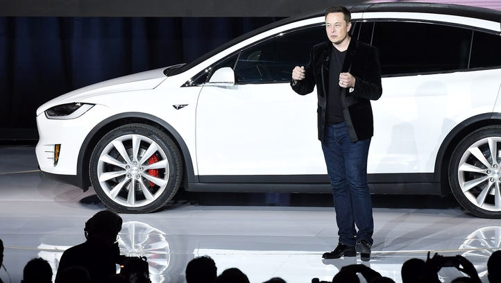 Tesla CEO Elon Musk speaks at the Model X launch event in Fremont, Calif.