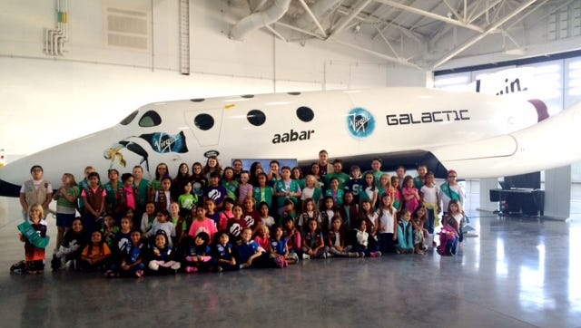 Deming Girl Scouts, members of the Girl Scouts of the Desert Southwest, toured Spaceport America near Truth or Consequences, N.M. on Oct. 24. The tour included educational talks about Virgin Galactic and its mission to fly people to the edge of space. They also were up close to a full-scale replica of a Virgin Galactic spaceship. One of the most enterprising talks focused on the important role of women in the many areas of the Virgin Galactic organizational and how they are helping with the Spaceport American program. Girls Scouts of the Desert Southwest encompasses Southern New Mexico and West Texas. The Deming troops are growing. Visit www.gsdw.org