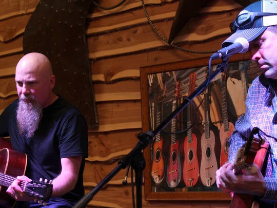 Country singers Kendell Marvel, left, and Trent Willmon pick a little during their sound check before Thursday night's performance to benefit Ben Richey Boys Ranch.