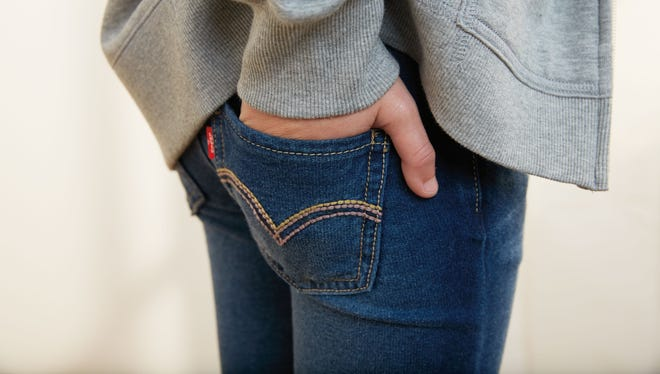 """Levi Strauss' Knit Jeans, made of stretch cotton knit that look like jeans but feel like sweatpants. Companies, including Levi Strauss, which invented the first pair of blue jeans 141 years ago, acknowledge that the jeans business has been hurt by what the fashion industry dubs the """"athleisure"""" trend. That has led them to create new versions of classic denim that are more """"stretchy"""" and mimic the comfort of sweatpants."""