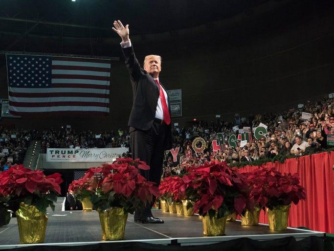 President Donald J. Trump greets a capacity crowd gathered