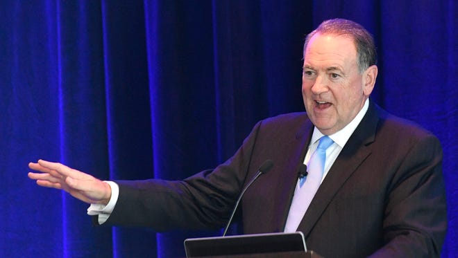 Gov. Mike Huckabee speaks to the National Health Investors, Inc. who were hosting their annual NHI Music City Symposium at the Omni Hotel.