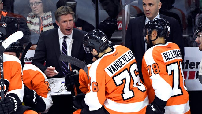 Coach Dave Hakstol and the Flyers had a brief practice Saturday instead of their scheduled game, which was postponed due to the snow.