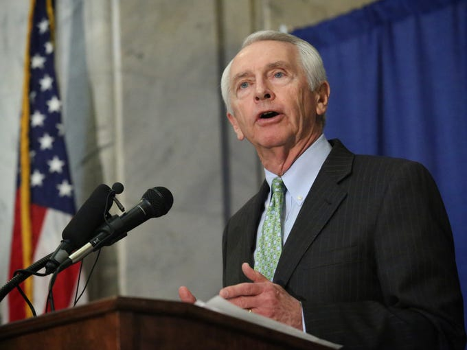 Kentucky Gov. Steve Beshear speaks in support of smoke-free legislation at a rally at the state Capitol Rotunda in Frankfort. Feb. 12, 2014. The rally was organized by Smoke Free Kentucky.