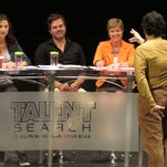 Talent judges (l-r) Jarvis Derrell, Jenny Long, Kevin Wheatley and Mollye Barrows interview applicant Andrew Ferrarafor the BLAB TV talent hunt Friday afternoon at the Saenger Theatre.